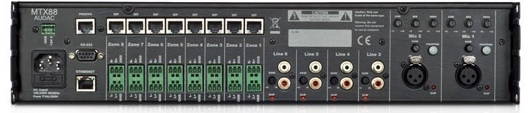 Audac MTX88 - 8-зонный матричный коммутатор с 2 входами микрофонного сигнала