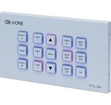 tvONE 1T-CL-322-EU  - Панель управления с 15 кнопками (128 команд), 2 реле, Ethernet 100/1000BaseT
