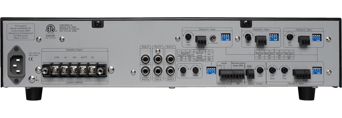 Atlas IED AA200PHD-CE - 6-канальный микшер-усилитель с системой автоматической диагностики PHD, 200 Вт – 4 Ом / 50/100 В