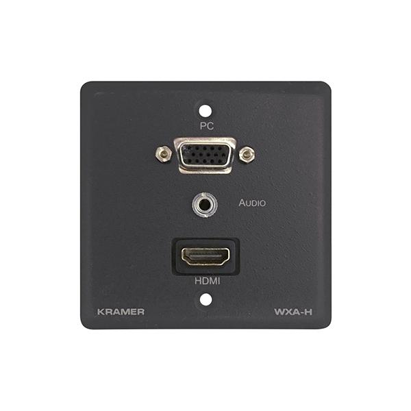 Kramer WXA-H/EU(G)-86 - Настенная панель-переходник HDMI (розетка-розетка), VGA (розетка-розетка), и стереоаудио (3,5-мм розетка-розетка)