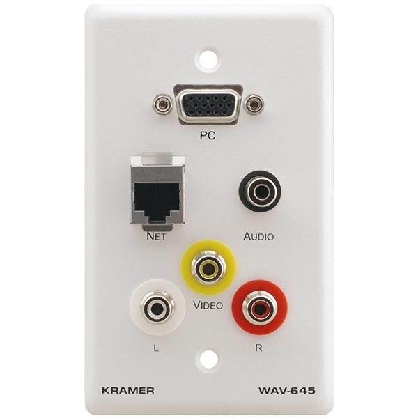 Kramer WAV-645/US(W) - Настенная панель-переходник с проходными разъемами для VGA, RJ45, стереоаудио и 3 разъемами RCA
