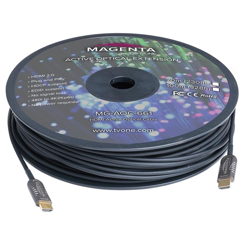 tvONE MG-AOC-661-100 - Кабель HDMI 2.0 гибридный (вилка-вилка)