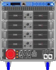 Axiom AXRACKM3 - Главный рэковый шкаф 9U с четырьмя усилителями HPX6000, процессором и панелью MDISTRO03