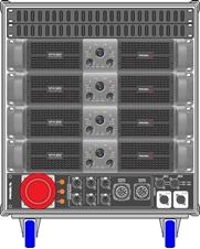 Axiom AXRACKS3 - Вспомогательный рэковый шкаф 9U с четырьмя усилителями HPX6000, процессором и панелью SDISTRO03