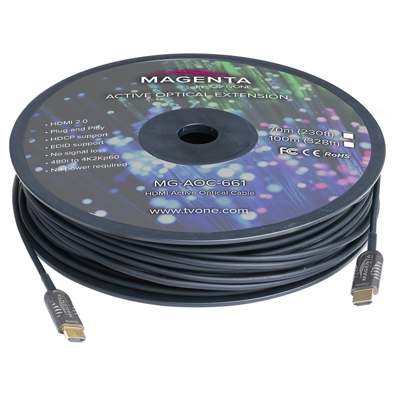 tvONE MG-AOC-662-50 - Кабель HDMI 2.0 гибридный (вилка-вилка)