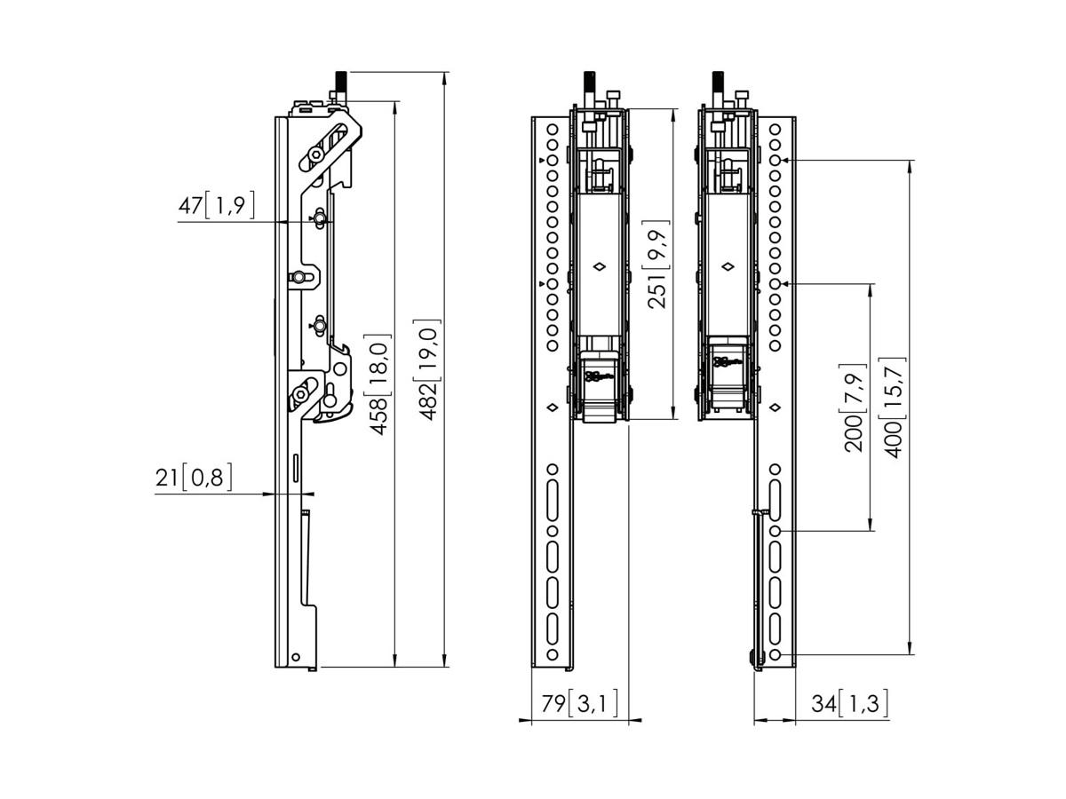 Vogels PFS 3504 - Направляющие с тонкой регулировкой для монтажа дисплея на планки модульной крепежной системы Connect-it, высота 450 мм, макс. нагрузка 80 кг