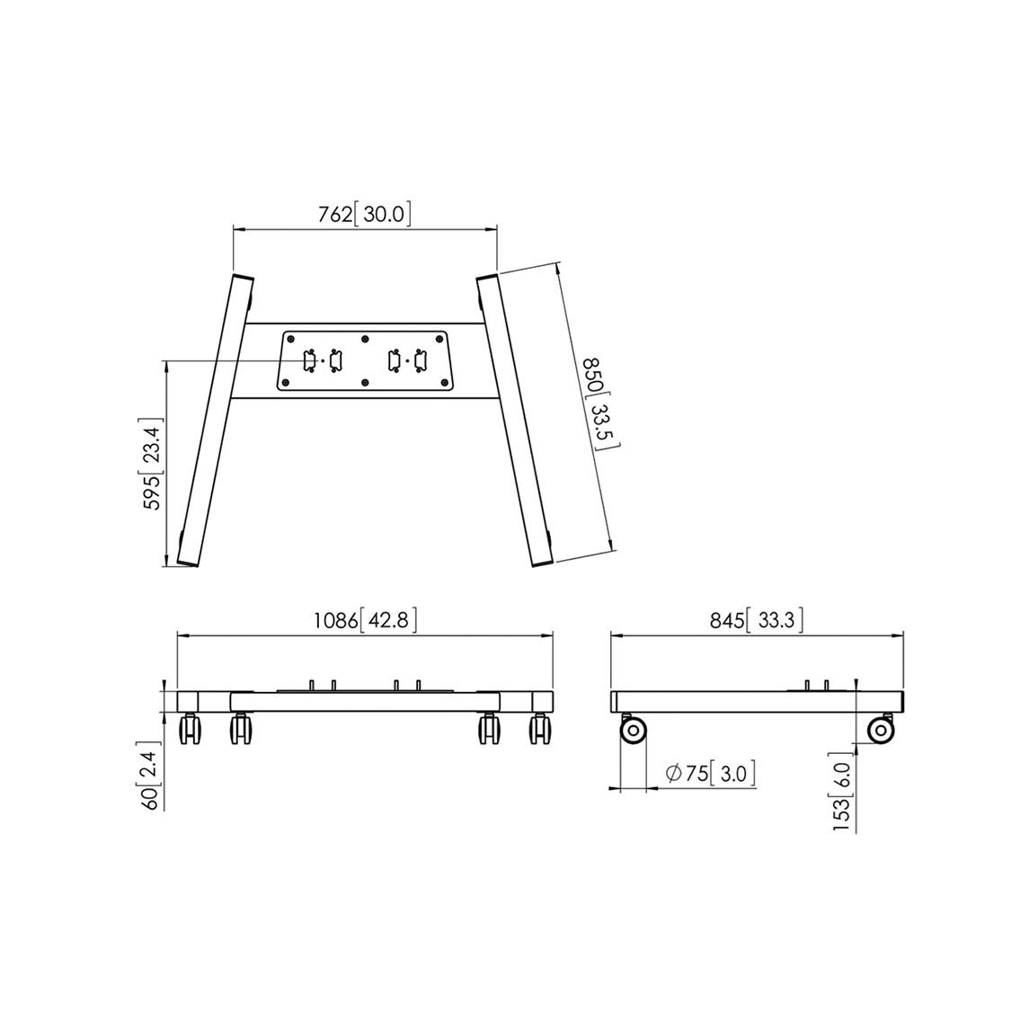 Vogels PFT 8530 Silver - Большая колесная база для стендов и стоек модульной крепежной системы Connect-it, макс. нагрузка 160 кг