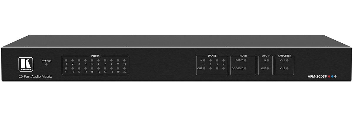 Kramer AFM-20DSP - Аудиоматрица с конфигурируемыми 20 аналоговыми входами / выходами, S/PDIF, DSP-процессором, Dante 4x4 и усилителем