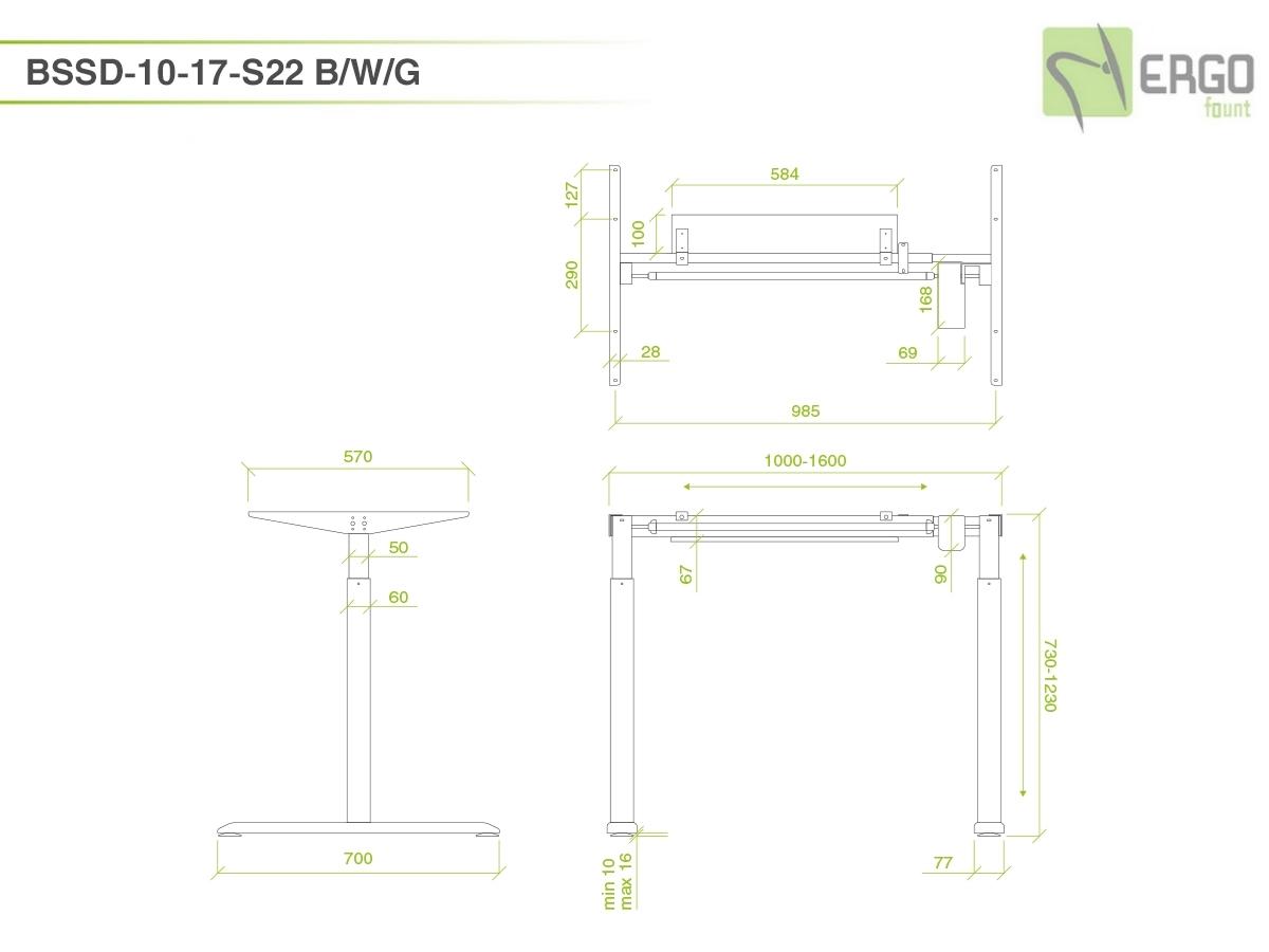 ErgoFount BSSD-10-17/S22 G - Основание стола для работы стоя и сидя c электроприводом на телескопических опорах 730–1230 мм, макс. нагрузка 80 кг, серебристое