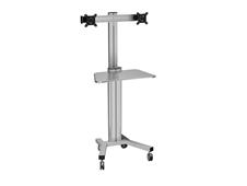ErgoFount KFT 1601/2 Silver - Напольная мобильная стойка для 2 мониторов диагональю 10–24'', высота 1450–1760 мм