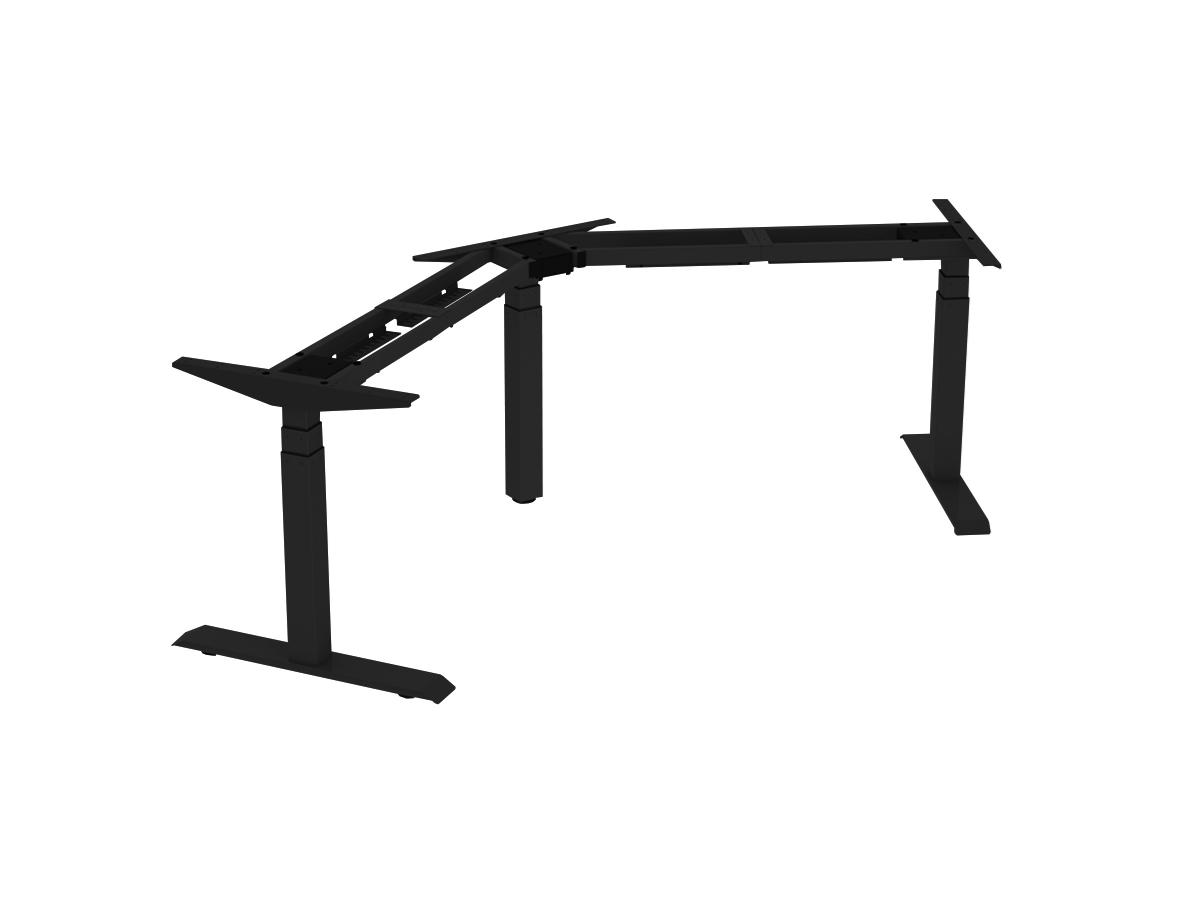 ErgoFount BSSD-L10-120/33 B - Основание стола для работы стоя и сидя, L-образное 120°, с электроприводом на телескопических опорах 600–1230 мм, макс. нагрузка 150 кг, черное