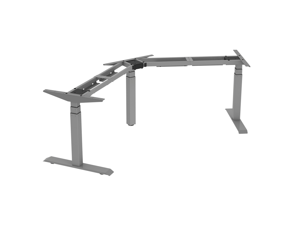 ErgoFount BSSD-L10-120/33 G - Основание стола для работы стоя и сидя, L-образное 120°, с электроприводом на телескопических опорах 600–1230 мм, макс. нагрузка 150 кг, серое