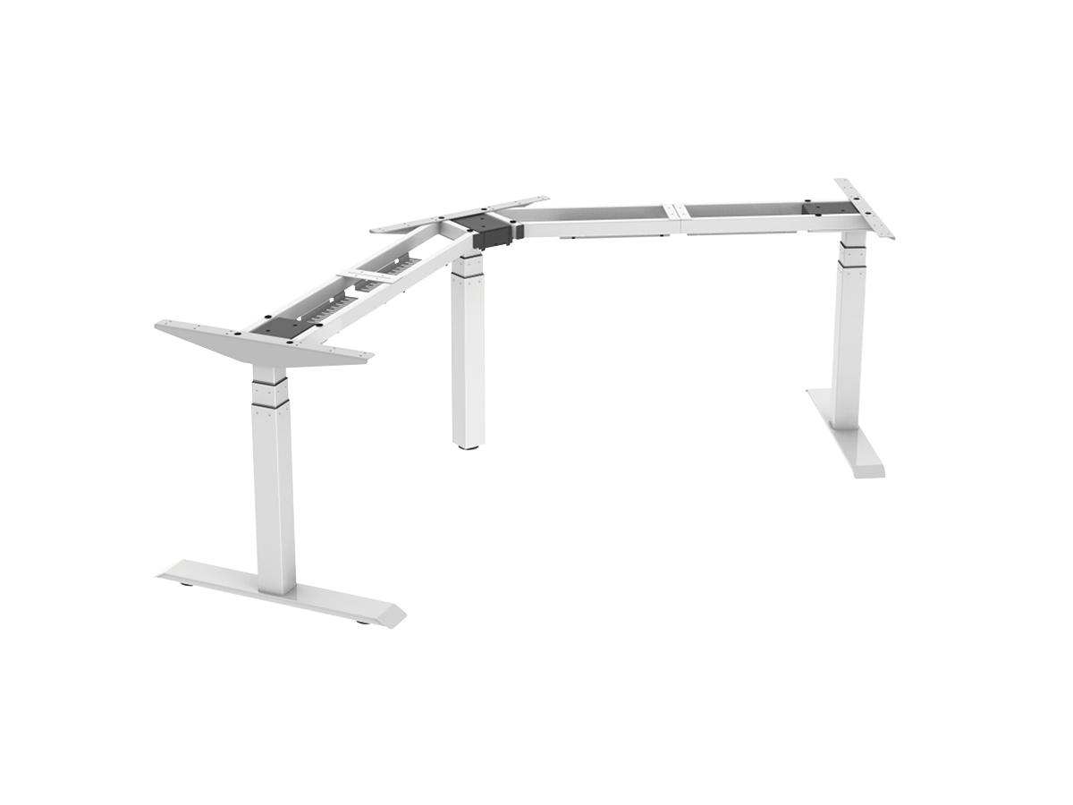 ErgoFount BSSD-L10-120/33 W - Основание стола для работы стоя и сидя, L-образное 120°, с электроприводом на телескопических опорах 600–1230 мм, макс. нагрузка 150 кг, белое