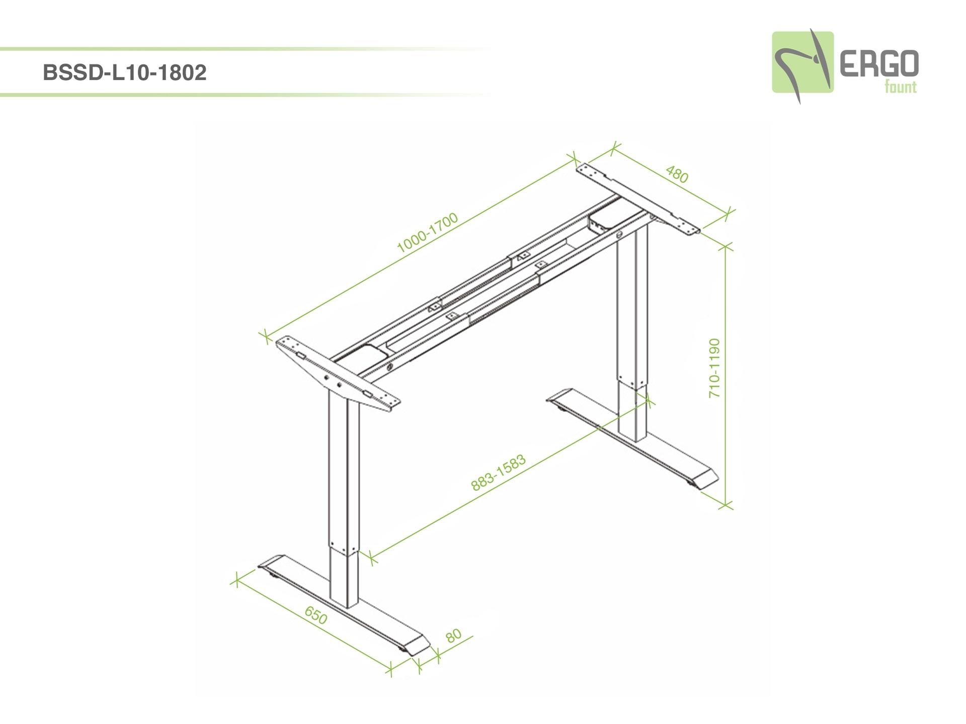 ErgoFount BSSD-L10-18/02 W - Основание стола для работы стоя и сидя с электроприводом на телескопических опорах 710–1190 мм, макс. нагрузка 100 кг, белое