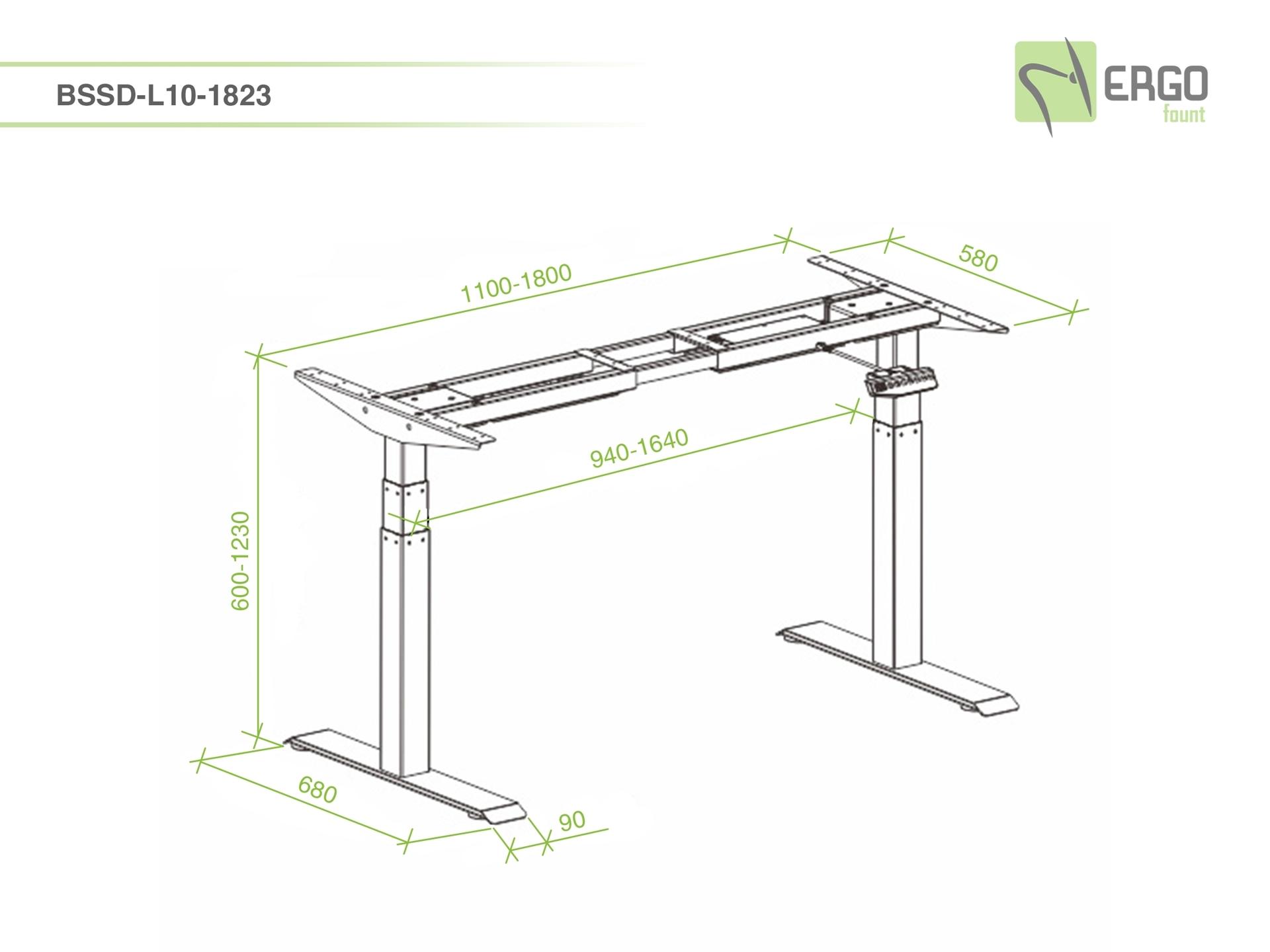 ErgoFount BSSD-L10-18/23 W - Основание стола для работы стоя и сидя с электроприводом на телескопических опорах 600–1230 мм, макс. нагрузка 125 кг, белое