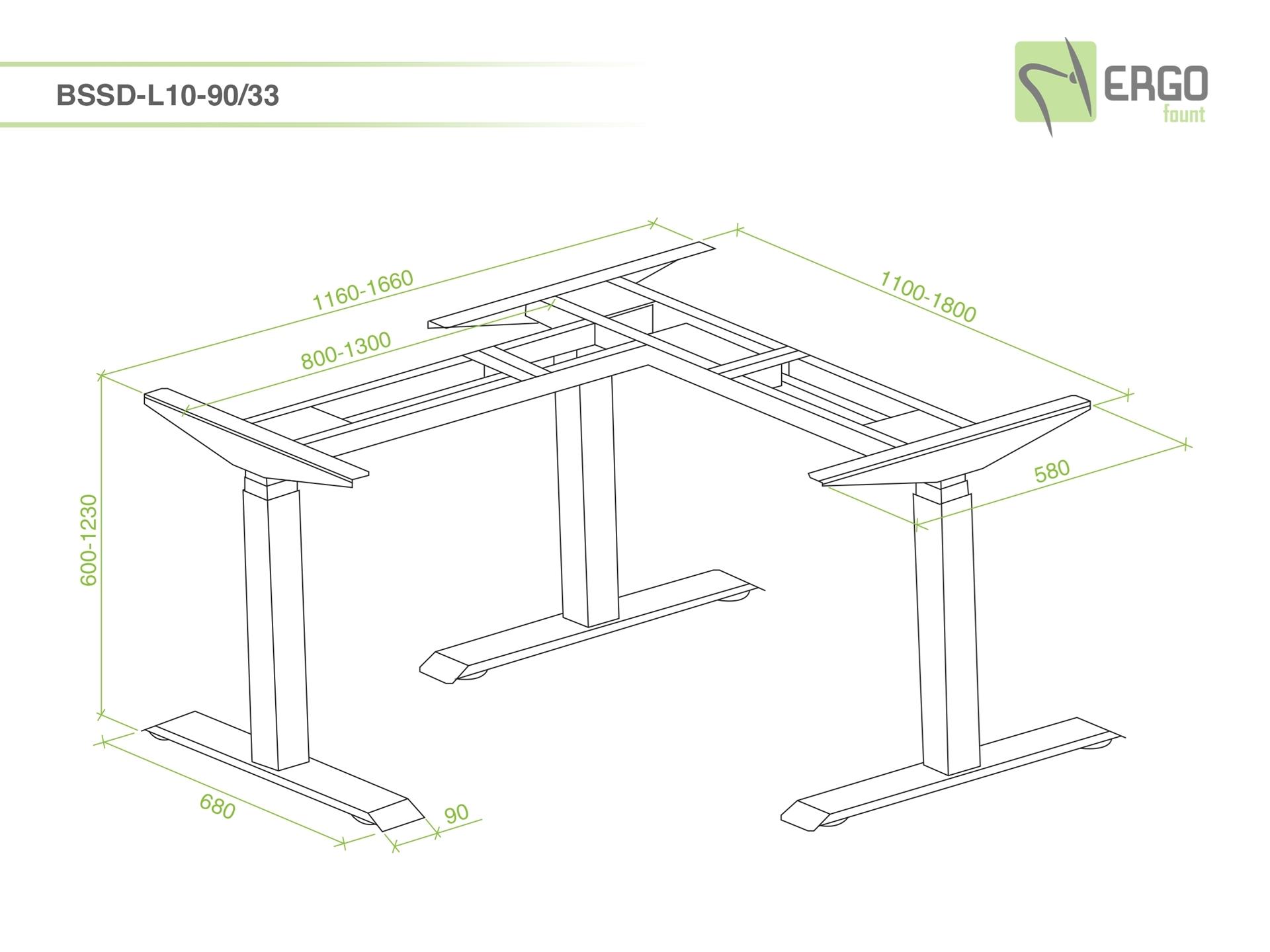 ErgoFount BSSD-L10-90/33 B - Основание стола для работы стоя и сидя, L-образное 90°, с электроприводом на телескопических опорах 600–1230 мм, макс. нагрузка 150 кг, черное