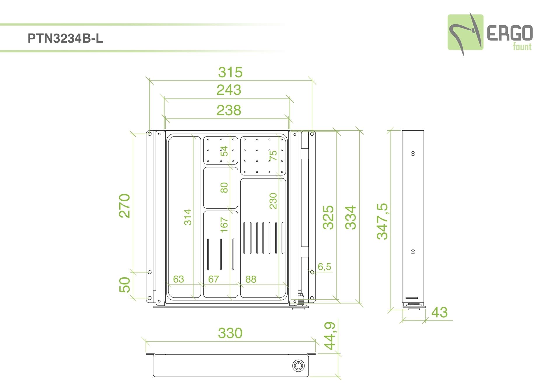 ErgoFount PTN3234B-L - Выдвижной ящик-органайзер с замком для канцелярских принадлежностей под стол, средний, черный