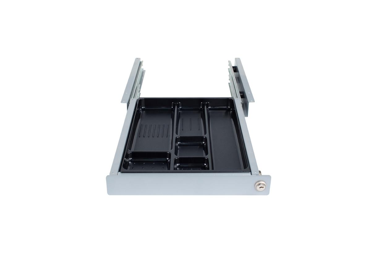 ErgoFount PTN3234S-L - Выдвижной ящик-органайзер с замком для канцелярских принадлежностей под стол, средний, серебристый