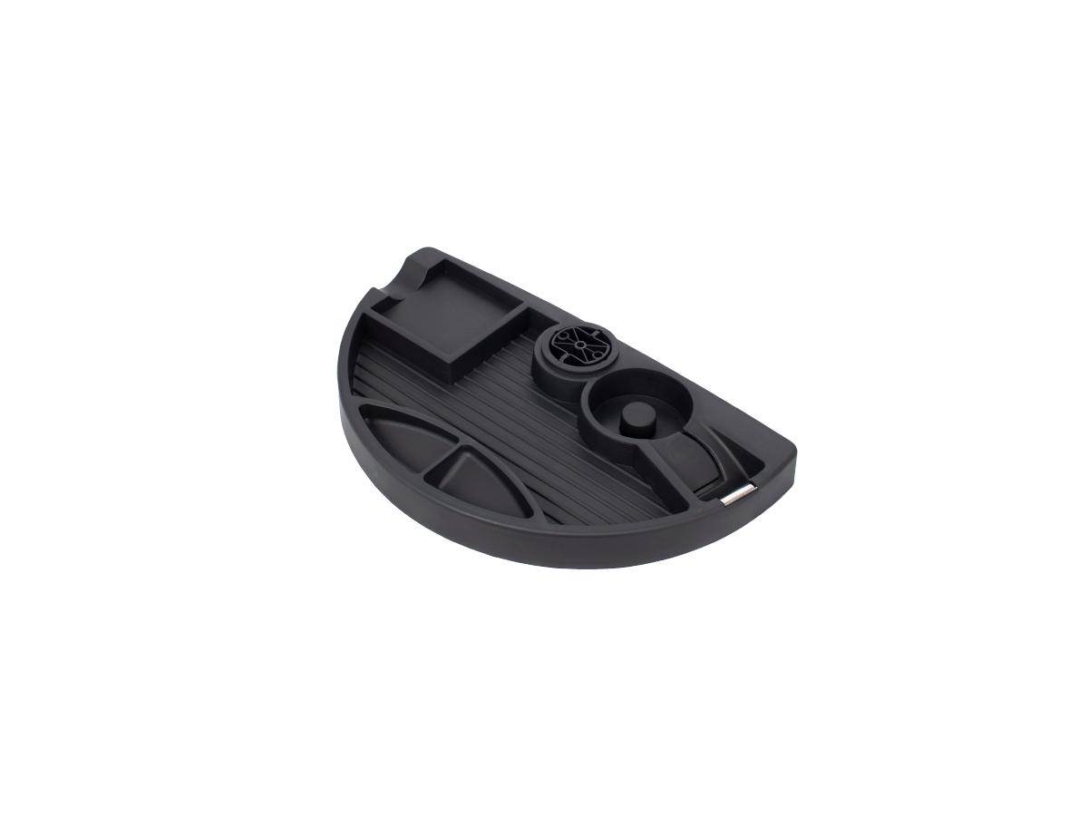 ErgoFount PTR2820B - Вращающийся ящик-органайзер для канцелярских принадлежностей под стол, 4 отделения и диспенсер, черный