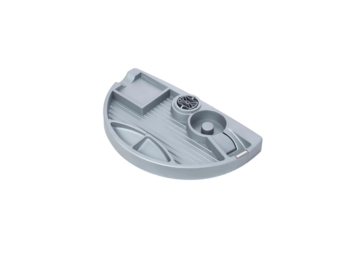ErgoFount PTR2820S - Вращающийся ящик-органайзер для канцелярских принадлежностей под стол, 4 отделения и диспенсер, серебристый