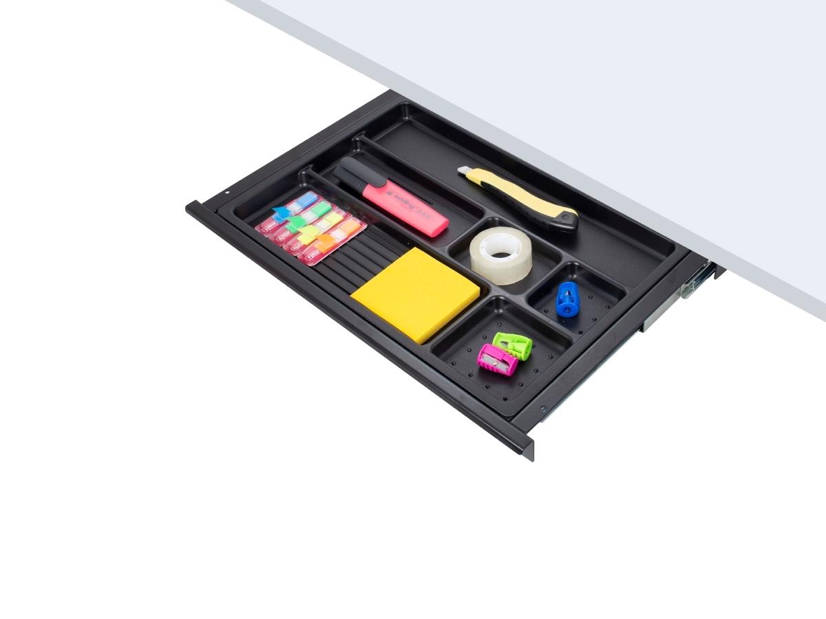 ErgoFount PTS4324B - Выдвижной ящик-органайзер для канцелярских принадлежностей под стол, средний, черный