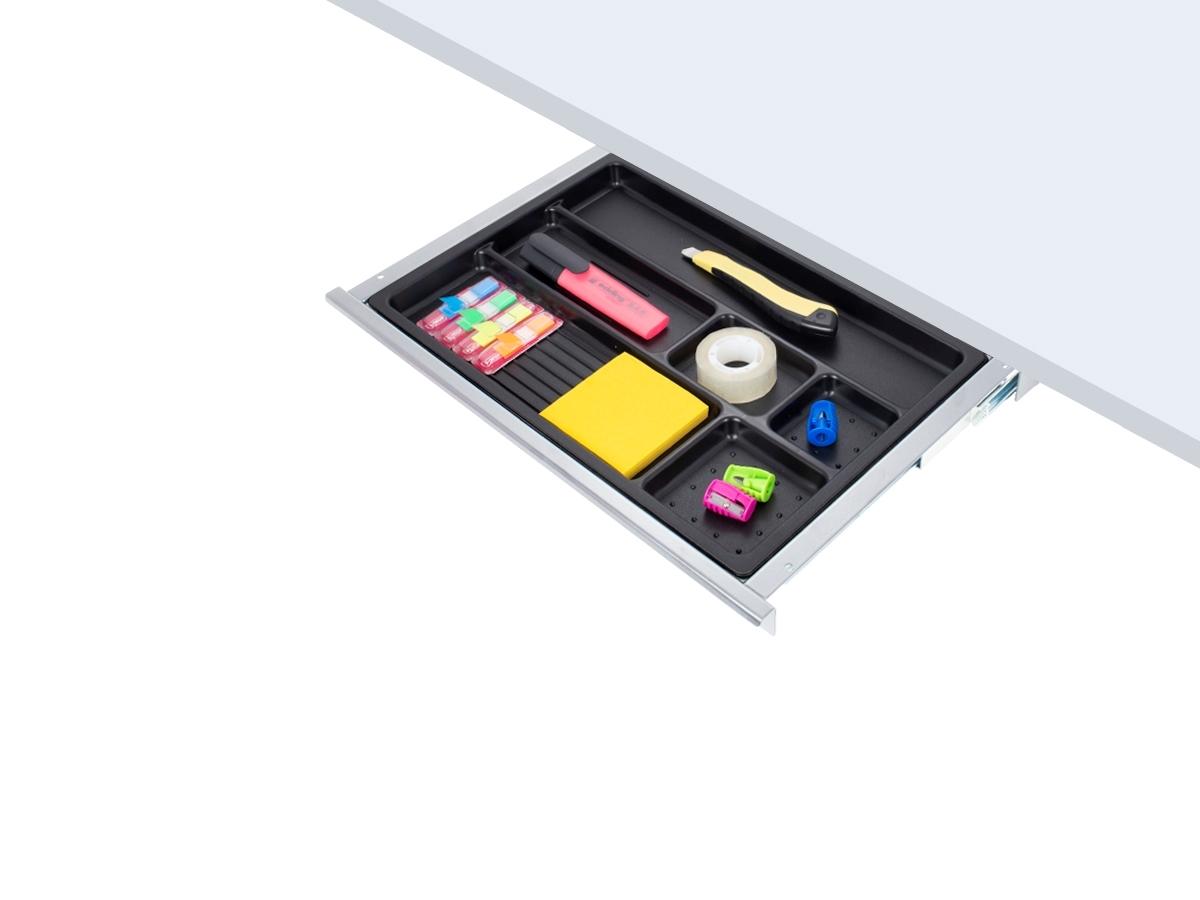 ErgoFount PTS4324S - Выдвижной ящик-органайзер для канцелярских принадлежностей под стол, средний, серебристый