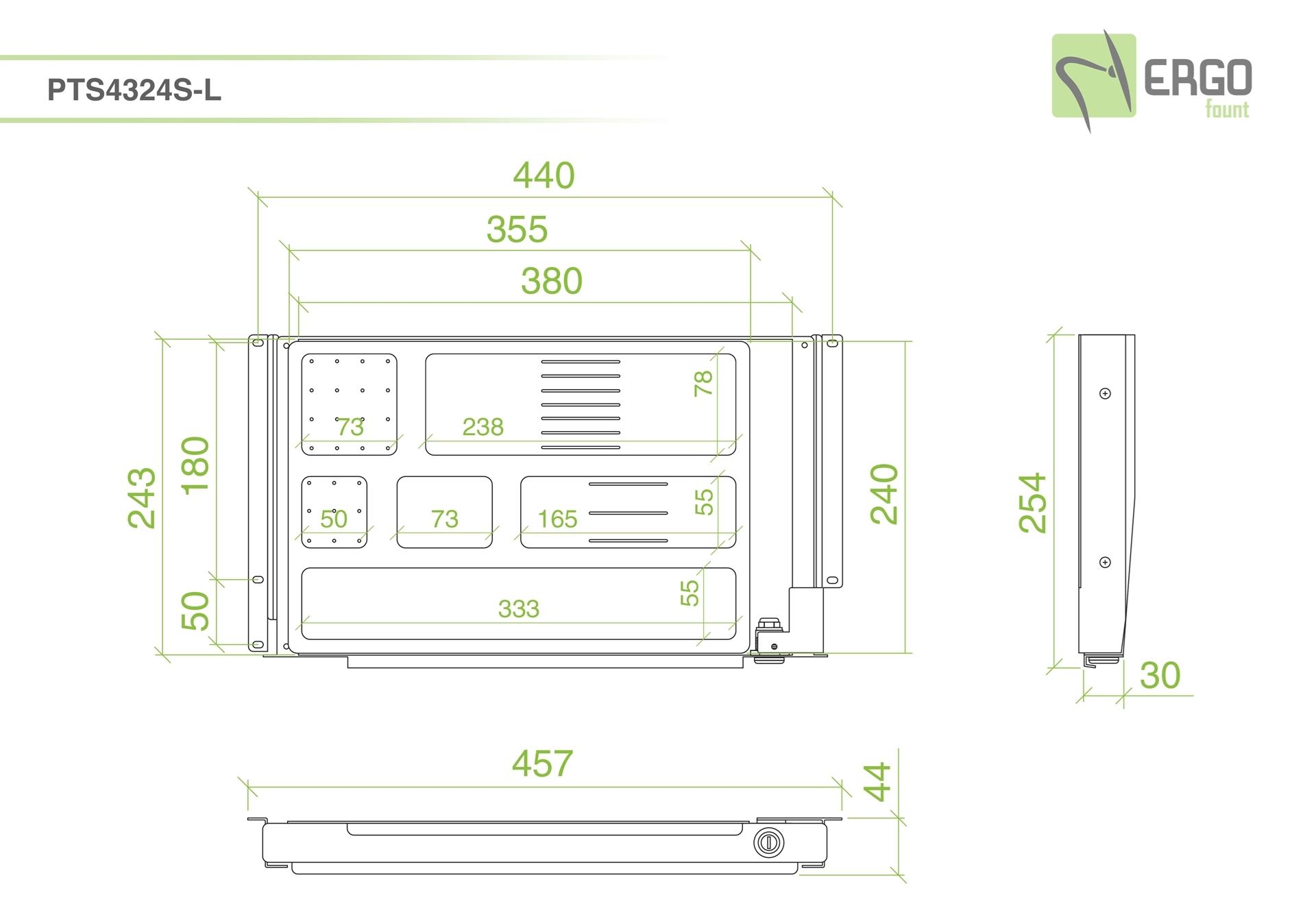 ErgoFount PTS4324S-L - Выдвижной ящик-органайзер с замком для канцелярских принадлежностей под стол, средний, серебристый