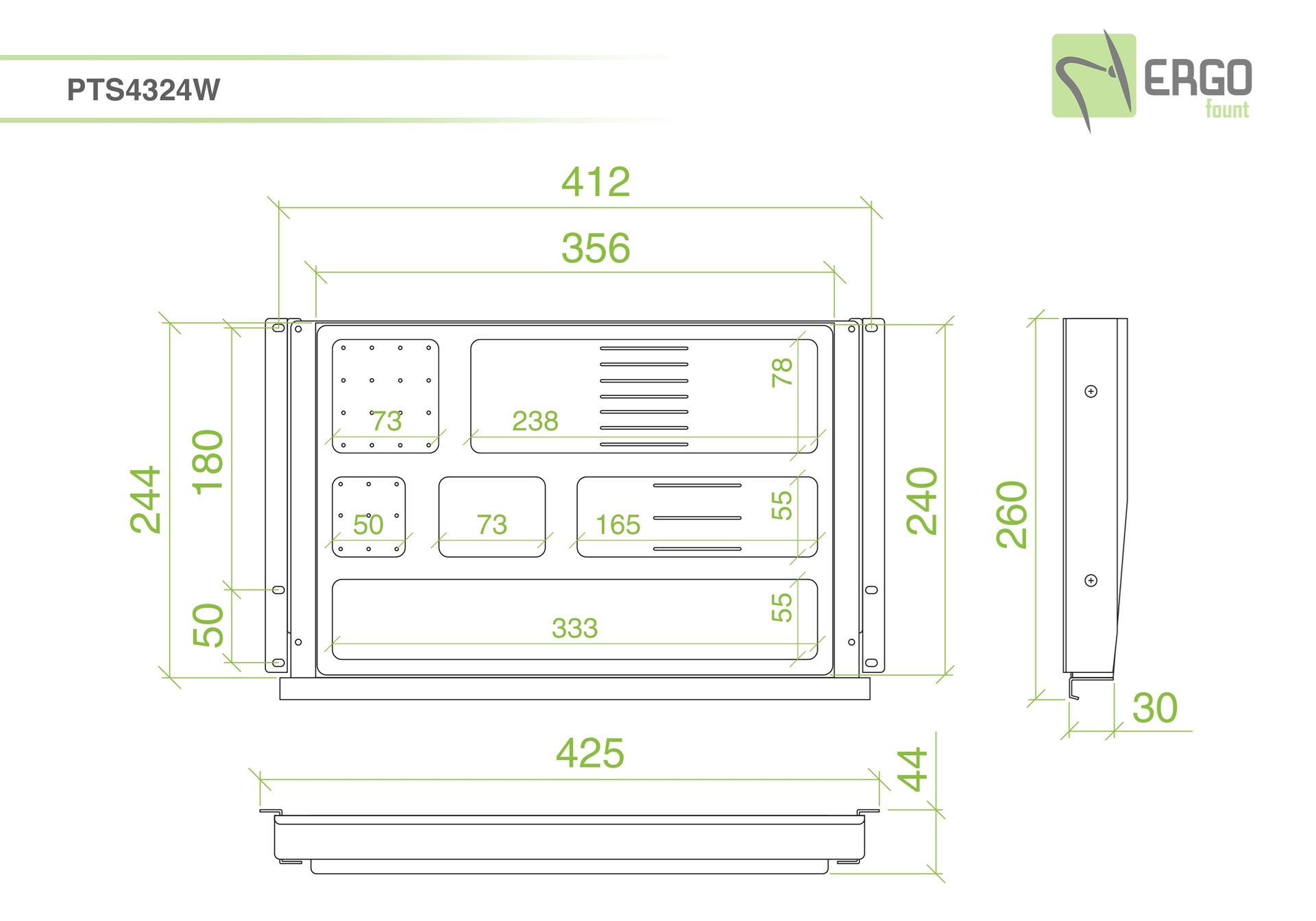 ErgoFount PTS4324W - Выдвижной ящик-органайзер для канцелярских принадлежностей под стол, средний, белый