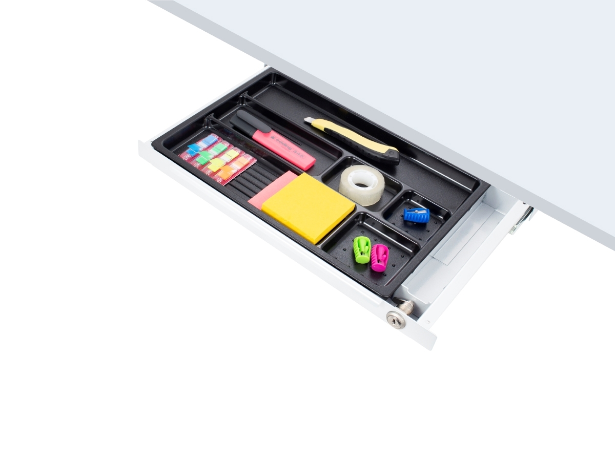 ErgoFount PTS4324W-L - Выдвижной ящик-органайзер с замком для канцелярских принадлежностей под стол, средний, белый
