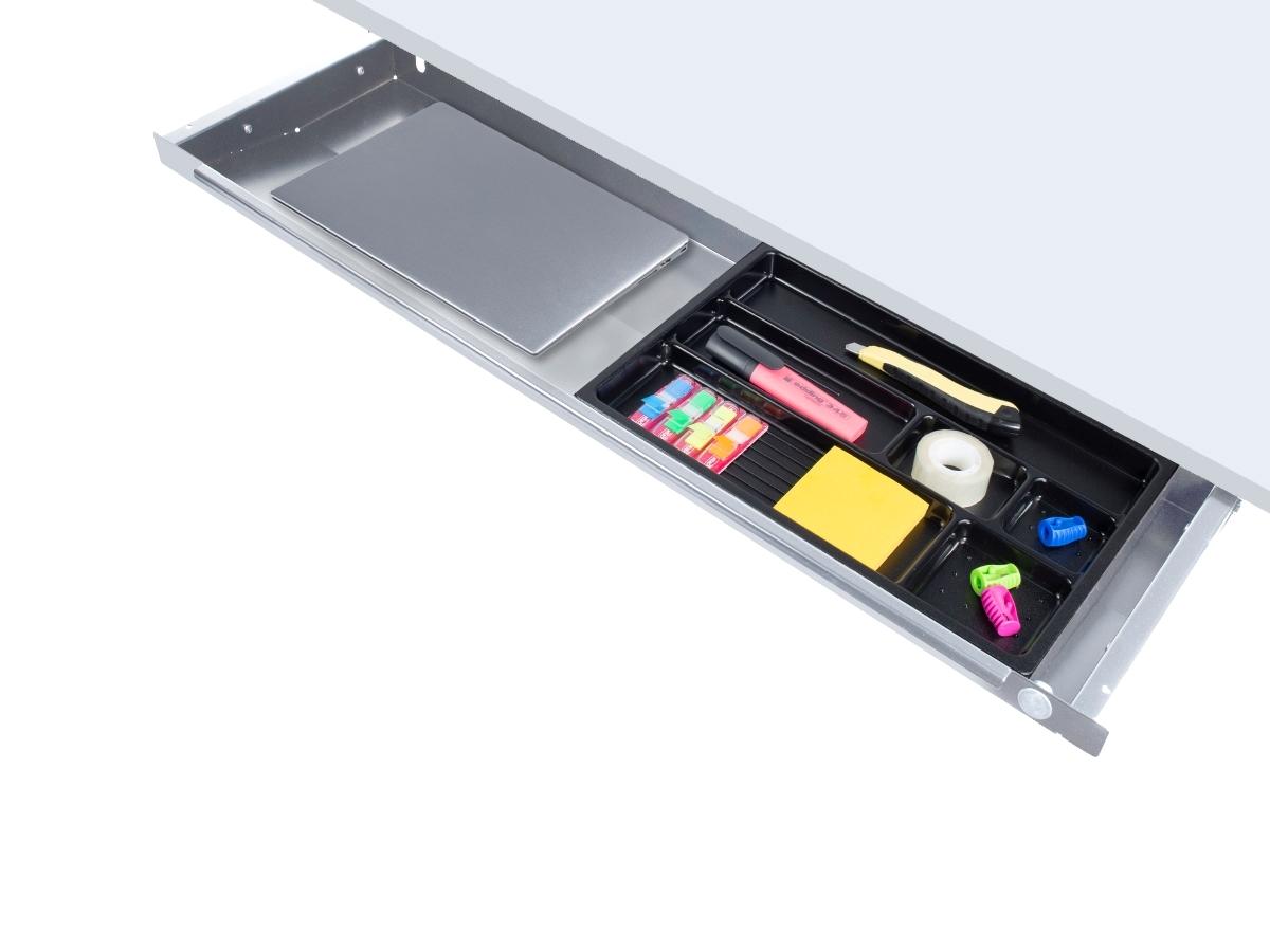 ErgoFount PTS8725S - Выдвижной ящик-органайзер для канцелярских принадлежностей и ноутбука под стол, большой, серебристый