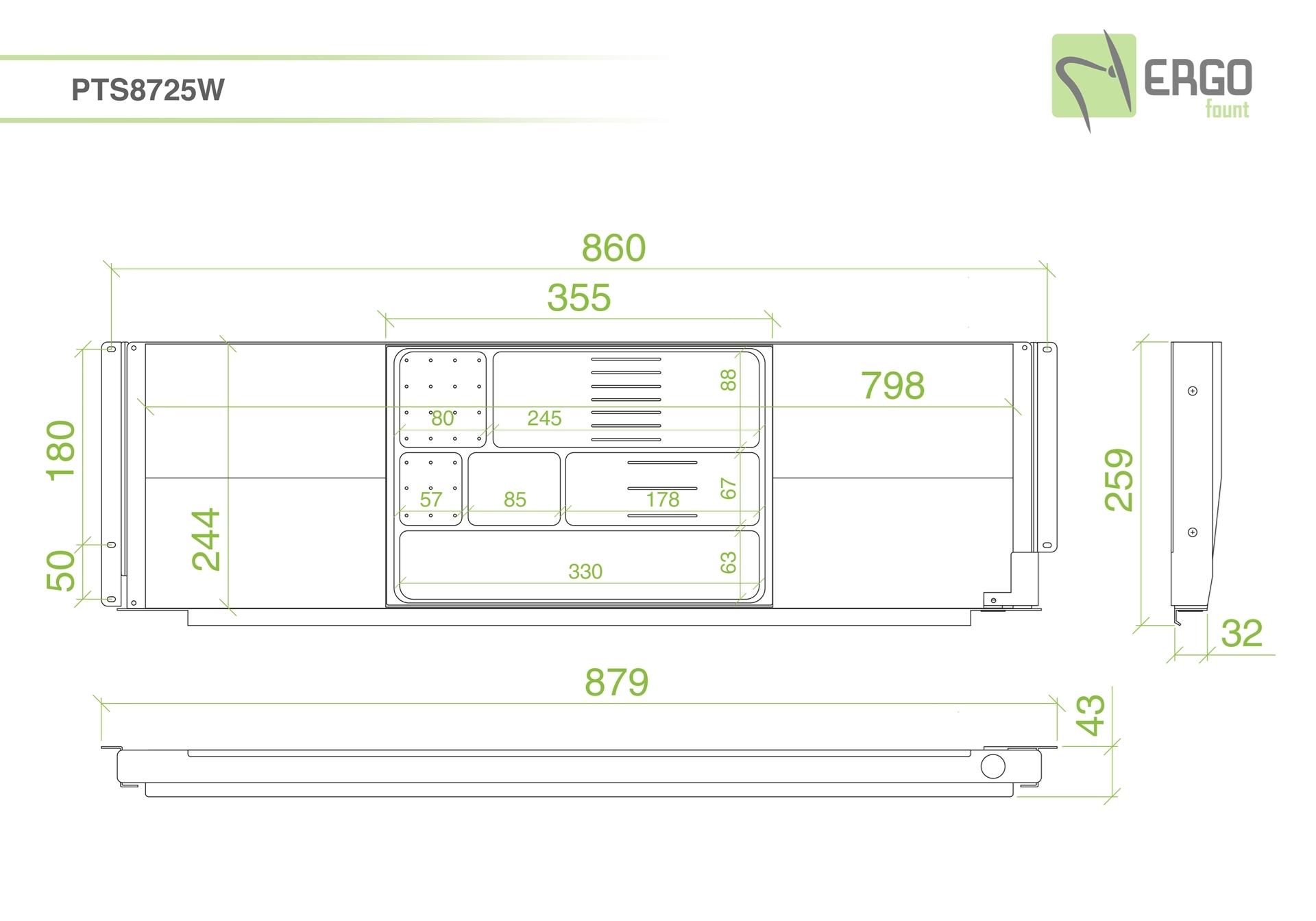 ErgoFount PTS8725W - Выдвижной ящик-органайзер для канцелярских принадлежностей и ноутбука под стол, большой, белый