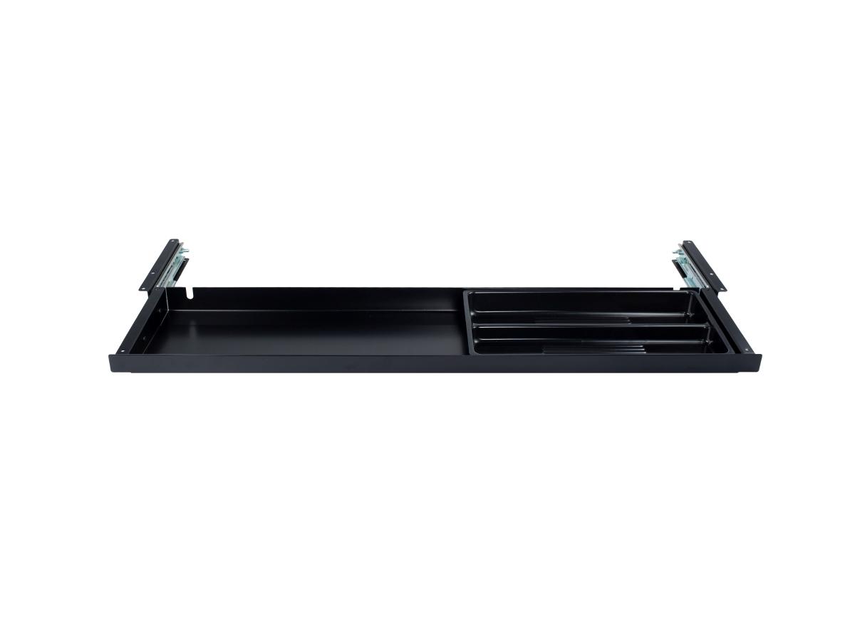 ErgoFount PTU8718B - Выдвижной ящик-органайзер для канцелярских принадлежностей под стол, большой, неглубокий, черный