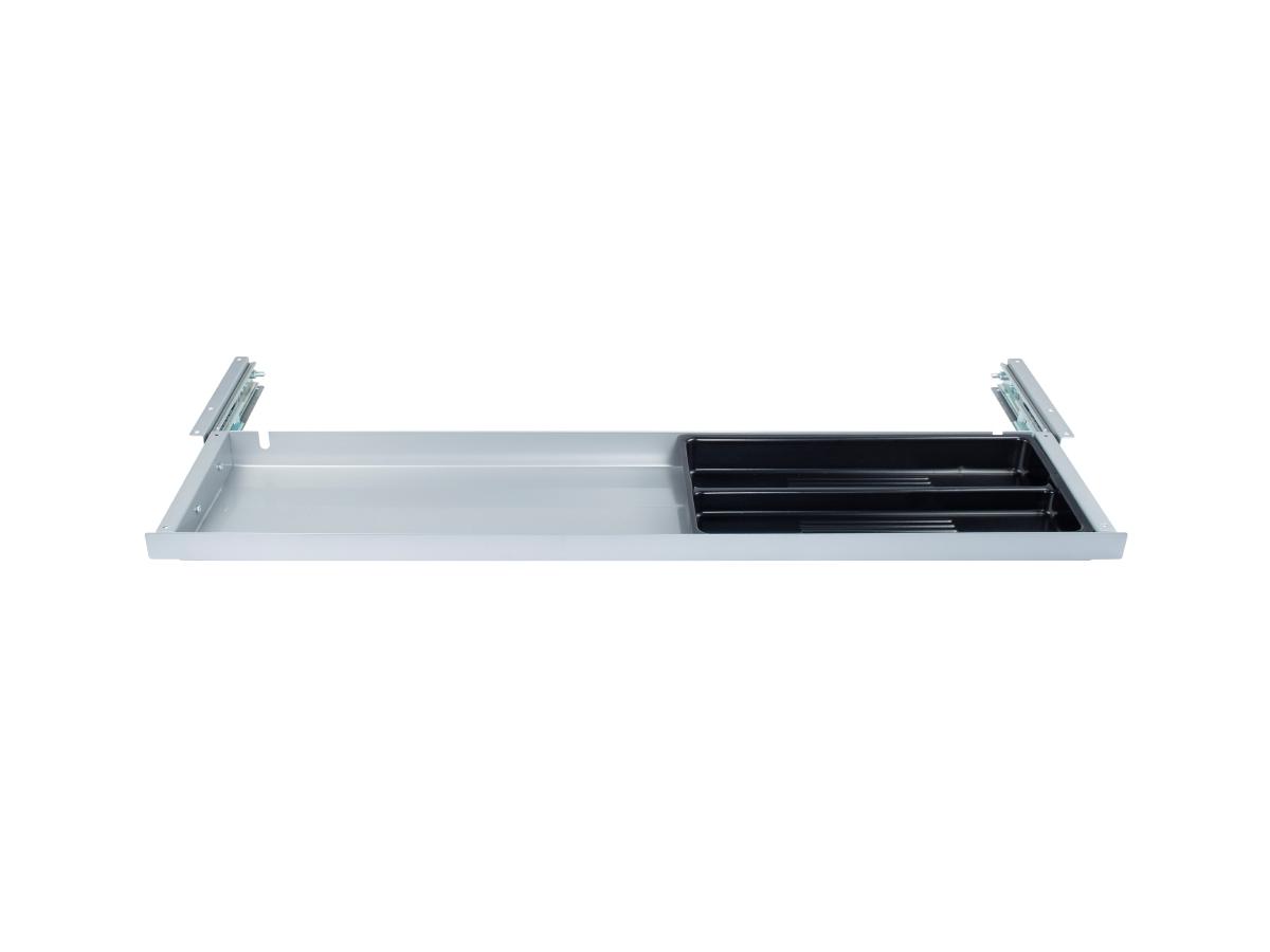 ErgoFount PTU8718S - Выдвижной ящик-органайзер для канцелярских принадлежностей под стол, большой, неглубокий, серебристый