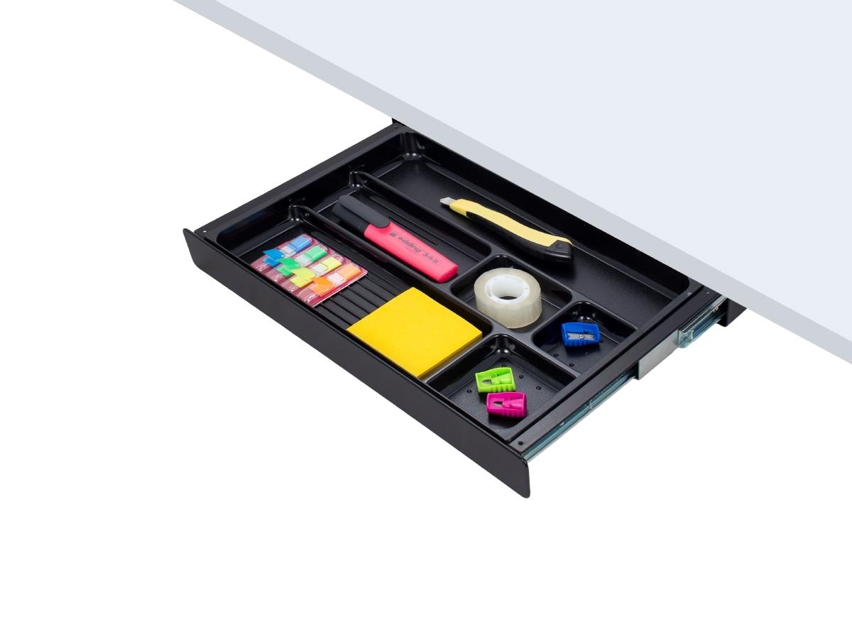 ErgoFount PTW4024B - Выдвижной ящик-органайзер для канцелярских принадлежностей под стол, средний, черный