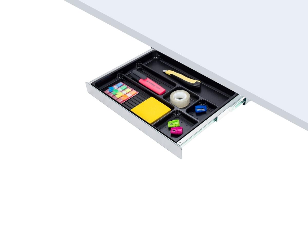 ErgoFount PTW4024S - Выдвижной ящик-органайзер для канцелярских принадлежностей под стол, средний, серебристый