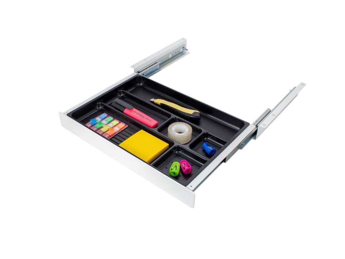 ErgoFount PTW4024W - Выдвижной ящик-органайзер для канцелярских принадлежностей под стол, средний, белый