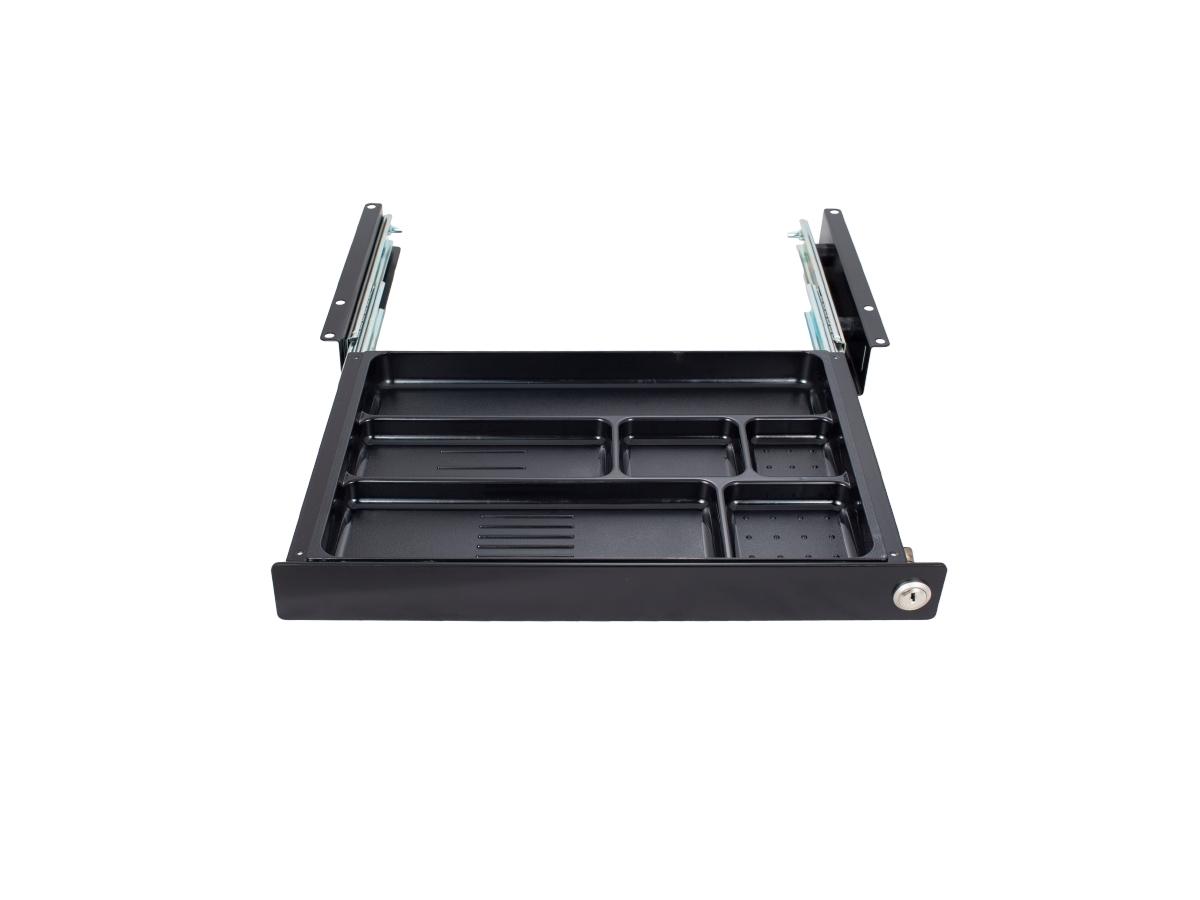 ErgoFount PTW4124B-L - Выдвижной ящик-органайзер с замком для канцелярских принадлежностей под стол, средний, черный