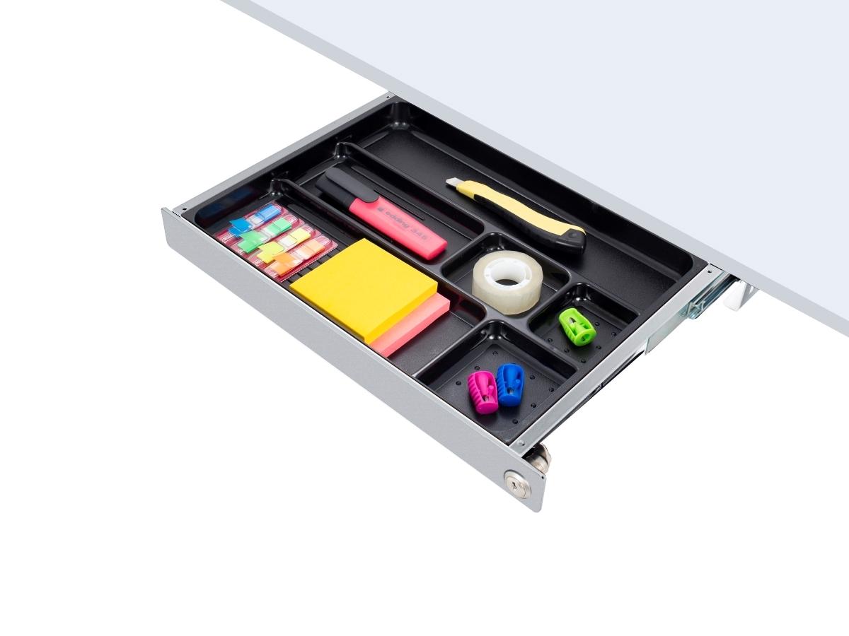 ErgoFount PTW4124S-L - Выдвижной ящик-органайзер с замком для канцелярских принадлежностей под стол, средний, серебристый