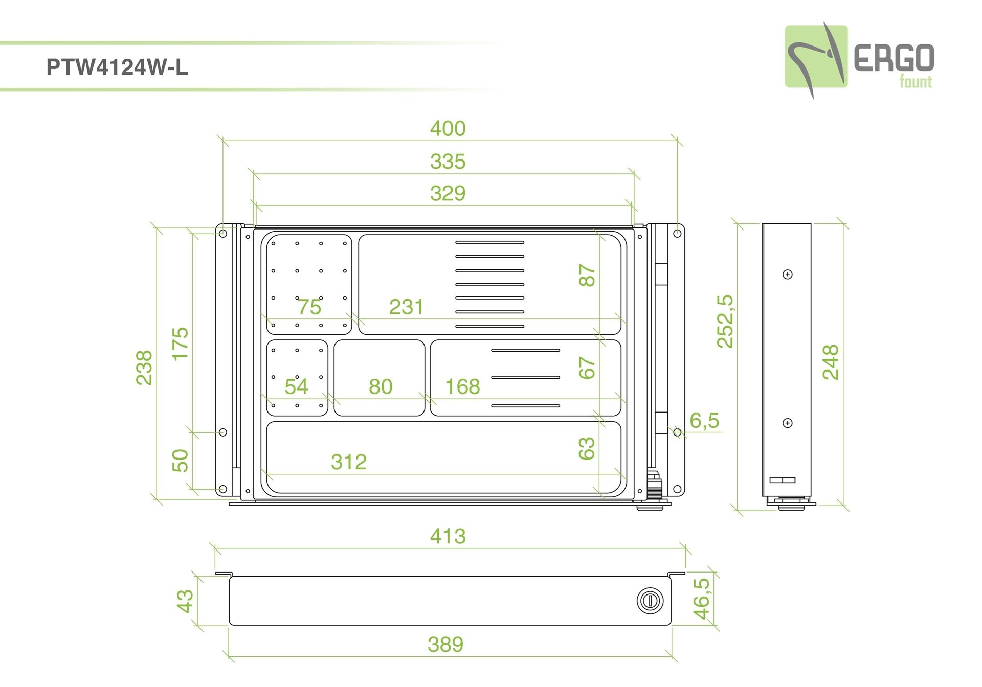ErgoFount PTW4124W-L - Выдвижной ящик-органайзер с замком для канцелярских принадлежностей под стол, средний, белый