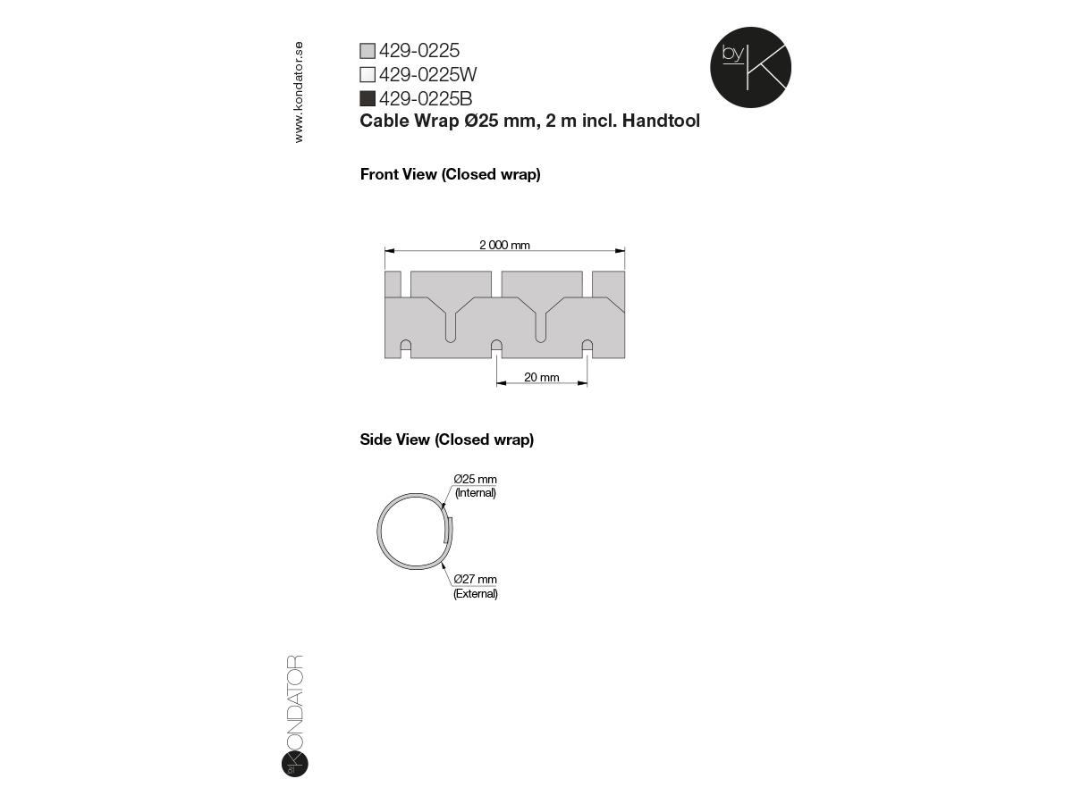 Kondator 429-0225 - Гибкий кабель-канал 2000x25 мм, серебристый