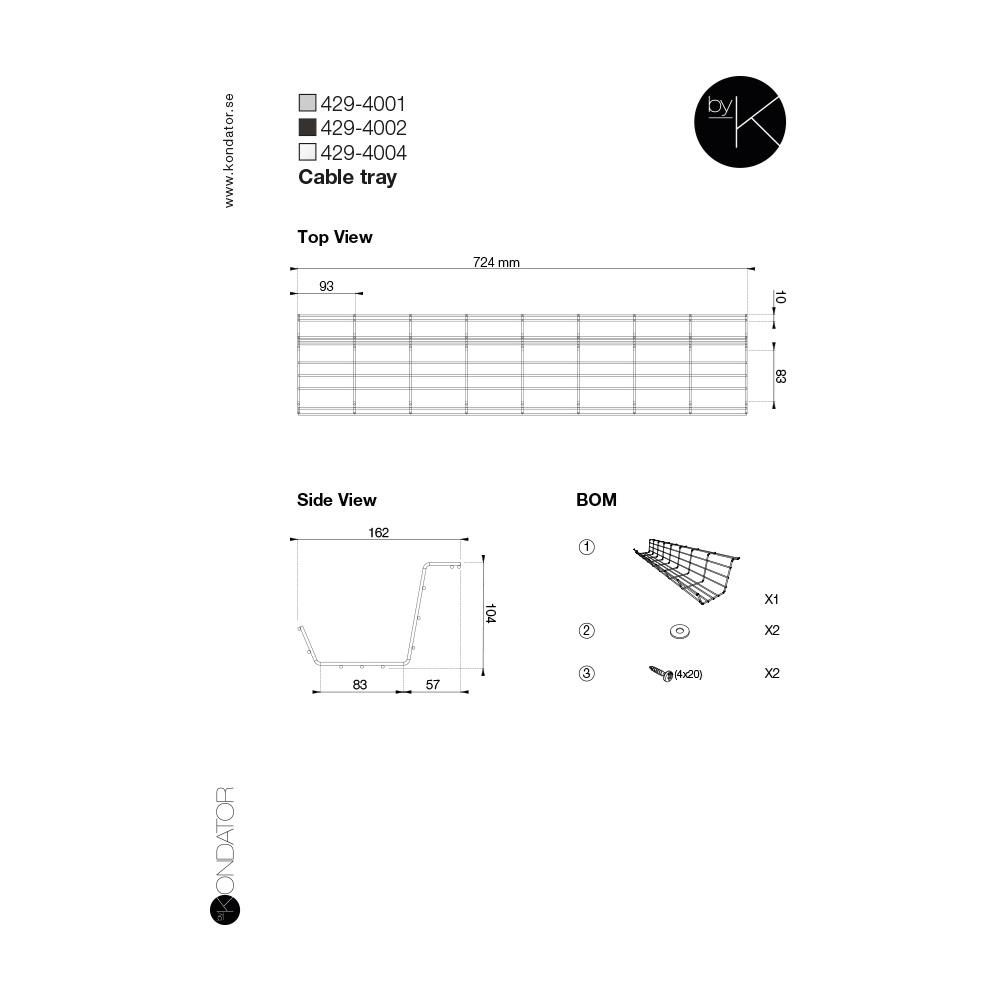 Kondator 429-4001 - Горизонтальный кабельный лоток 724 мм, серебристый