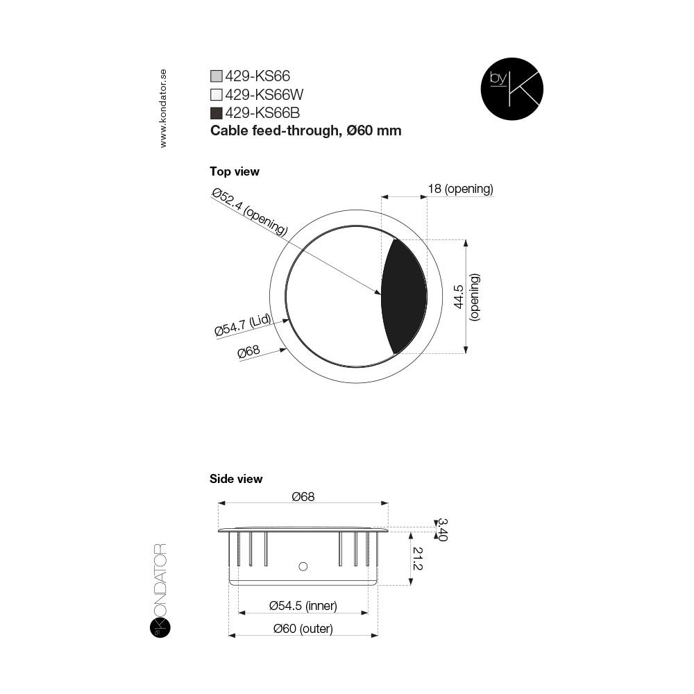 Kondator 429-KS66B - Заглушка кабельного вывода с щеткой для отверстий 60 мм, металлическая, черная