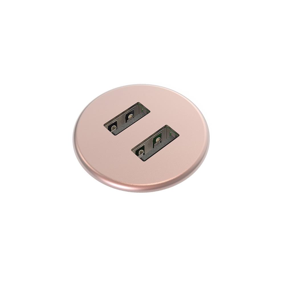 Kondator 935-PM30C - Встраиваемая зарядная станция серии Powerdot с 2xUSB, розовый кварц