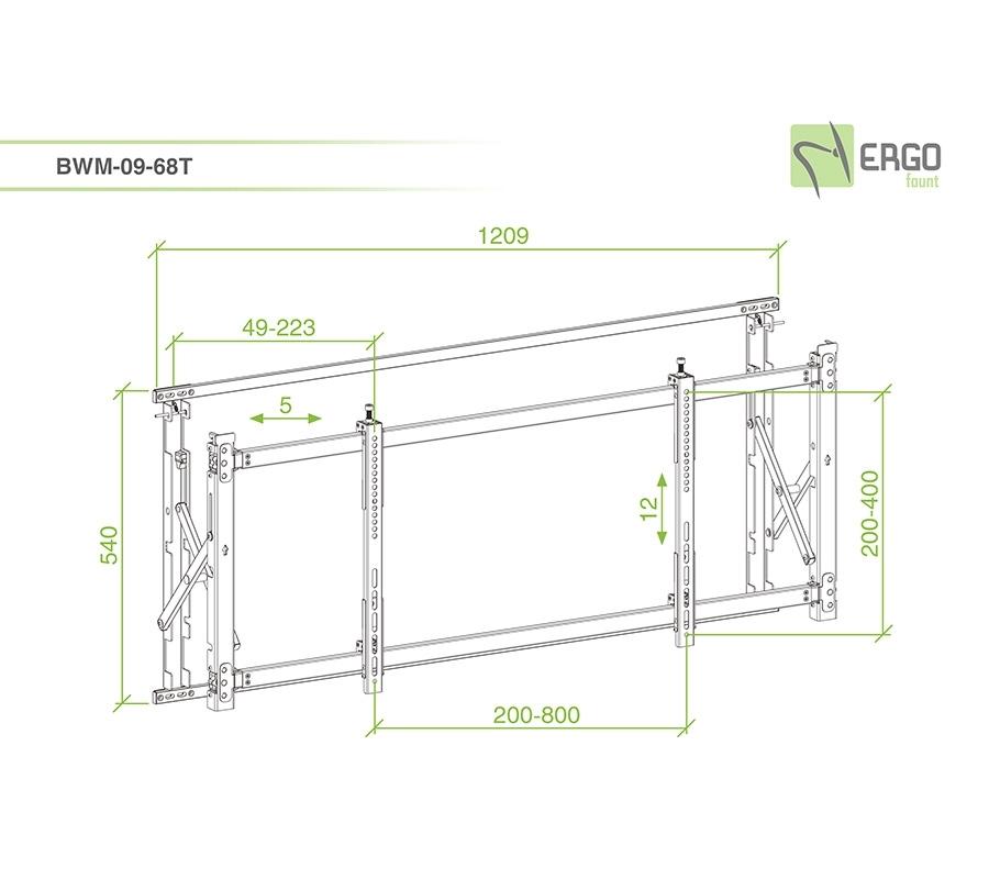 ErgoFount BWM-09-68T - Ультратонкое модульное выдвижное крепление для видеостен из дисплеев диагональю 55–60'', макс. нагрузка 35 кг, черное