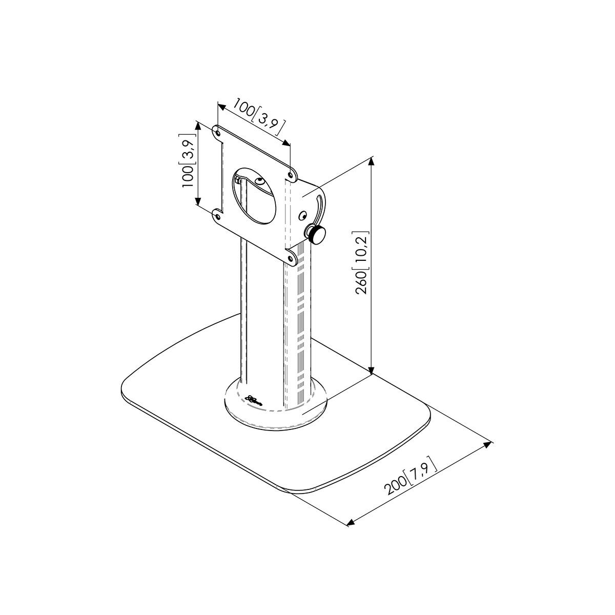 Vogels PTA 3005 - Напольная стационарная стойка для защитных кожухов TabLock, макс. нагрузка 3 кг, серебристая