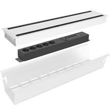 Kondator 935-K46DW - Комплект розеточной станции Conference Large серии Axessline с лючком, розеточный блок 935-T5UD (5 розеток, 2xUSB-питание, 1xHDMI, 4xRJ45, 2xUSB), белый