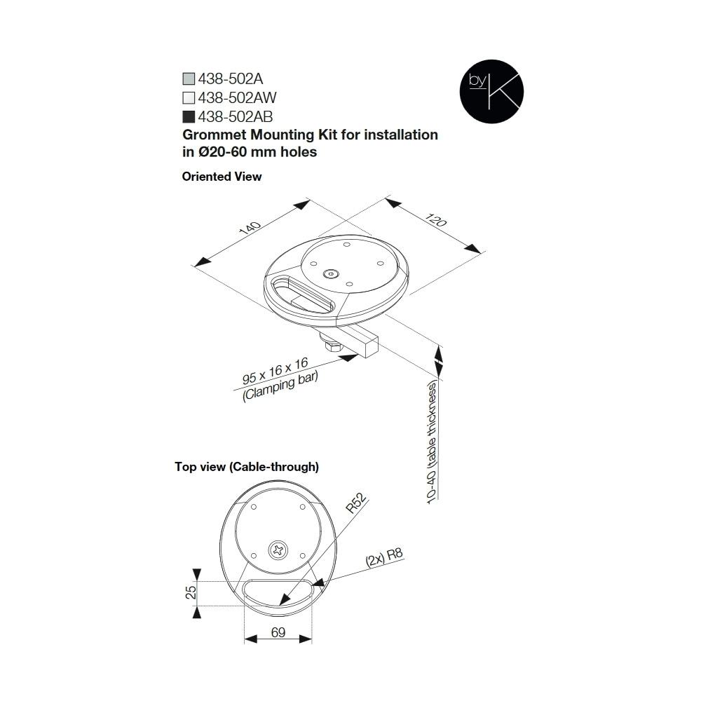 Kondator 438-502AW - Монтажный комплект для профиля Conceptum F-Profile, струбцина, белый