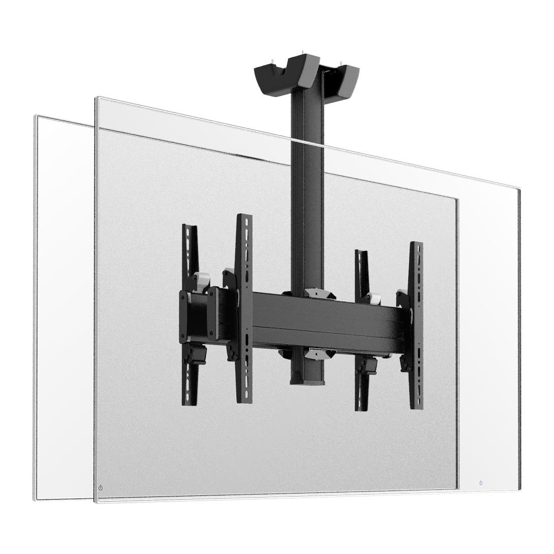 Vogels C0864 Dual Black - Потолочное крепление для 2 дисплеев диагональю 39–65'' («спина-к-спине»), длина штанги 800 мм, макс. нагрузка 160 кг