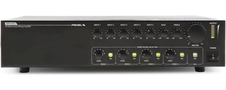 Proel PA AMP240V4 - Усилитель-микшер, 4 зоны на 240 Вт – 25/70/100 В, 160 Вт – 4/8/16 Ом