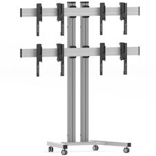 Vogels FT2264 Silver - Напольный мобильный стенд для видеостены 2х2 из дисплеев диагональю 40–46'', альбомная ориентация, макс. нагрузка 148 кг